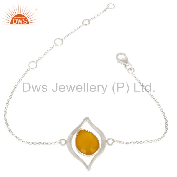 Solid 925 Sterling Silver Handmade Yellow Chalcedony Gemstone Chain Bracelet