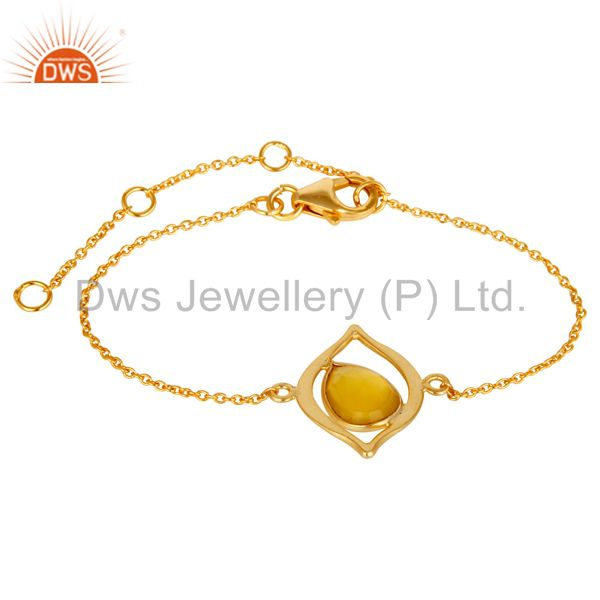 18K Yellow Gold Plated 925 Silver Yellow Chalcedony Gemstone Bracelet