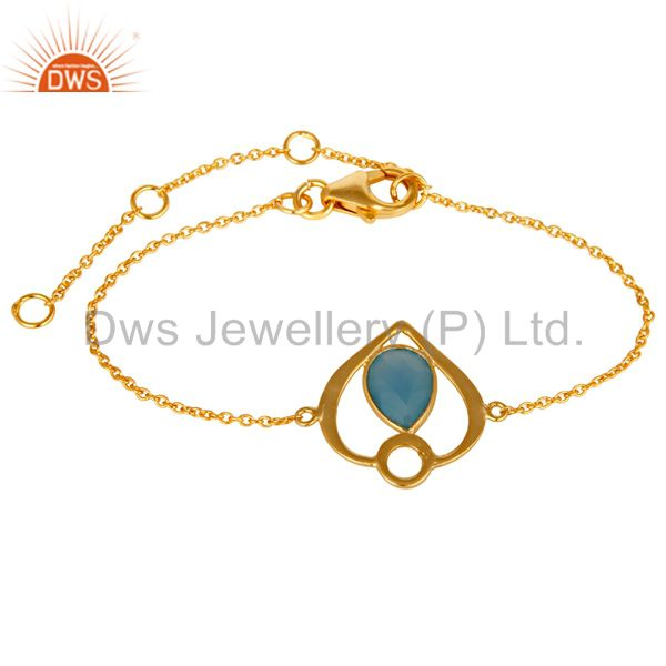 18K Yellow Gold Plated Sterling Silver Blue Chalcedony Gemstone Bracelet