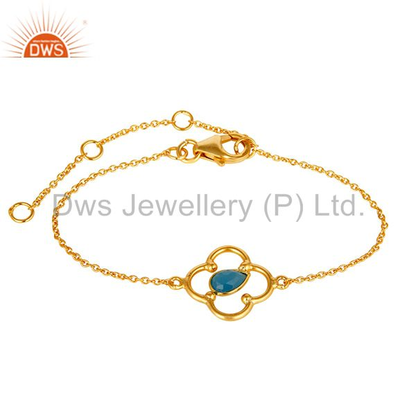 Blue chalcedony 18k yellow gold plated sterling silver gemstone bracelet