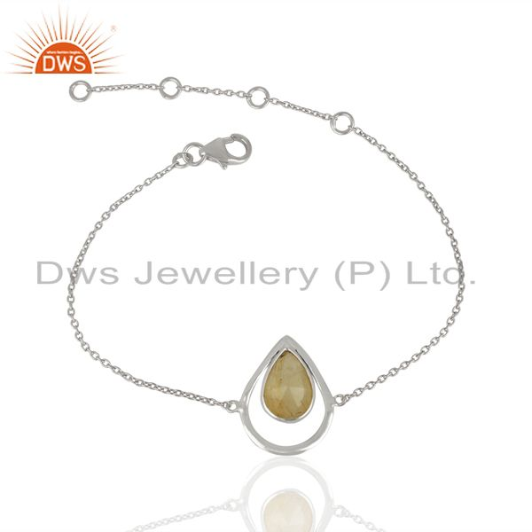 Sterling Fine Silver Golden Rutile Gemstone Fashion Chain Bracelet