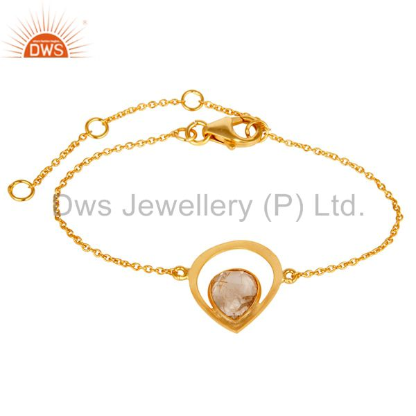 Golden Rutile 18K Yellow Gold Plated Sterling Silver Gemstone Handmade Bracelet