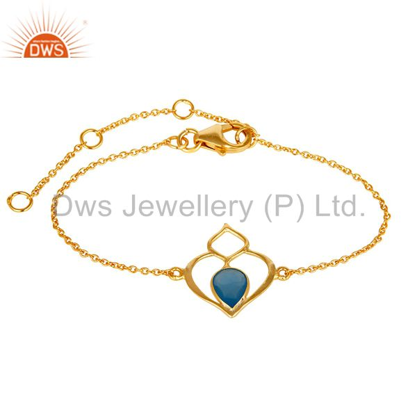 18k yellow gold plated sterling silver gemstone open bracelet with chalcedony