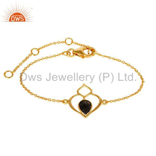 18k yellow gold plated sterling silver handmade open bracelet with black routile