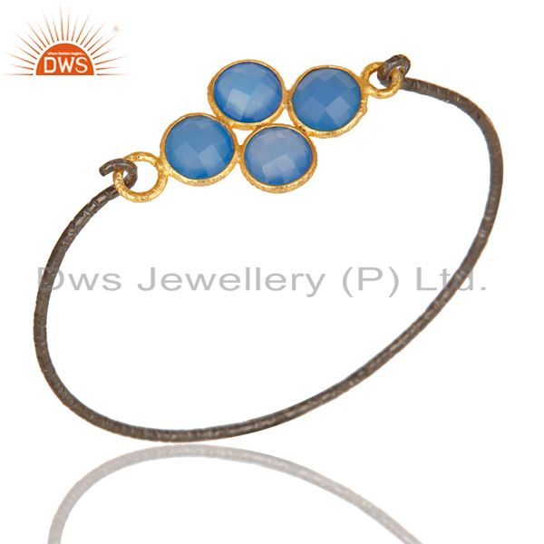 18k gold black oxidized 925 silver fashion dyed chalcedony bangle