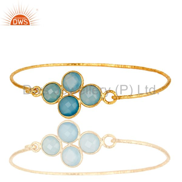 18k yellow gold sterling silver charm fashion dyed chalcedony bangle