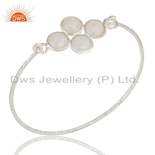 Handmade sterling silver rainbow moonstone bezel set sleek bangle