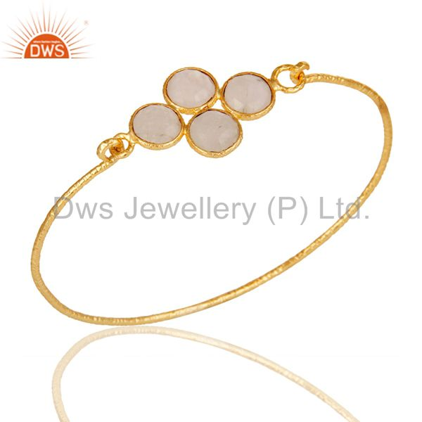 18k Yellow Gold Plated Sterling Silver Charm Fashion Rainbow Moonstone Bangle