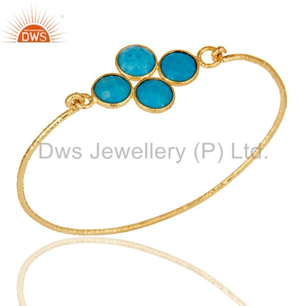 18k yellow gold 925 silver charm fashion natural turquoise bangle