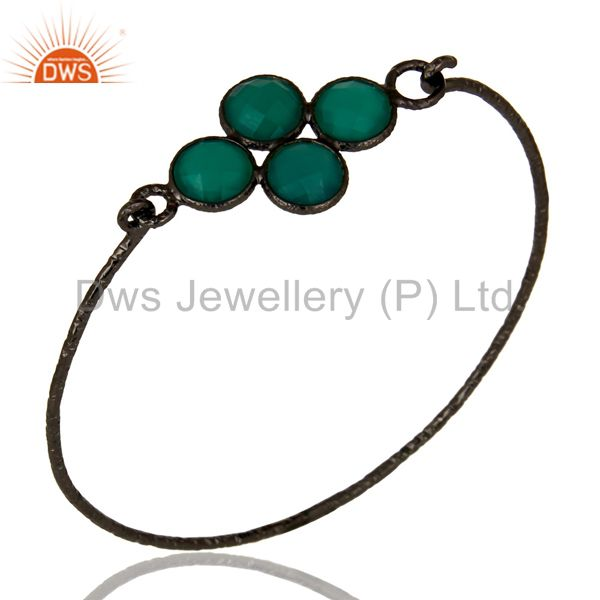 Black oxidized 925 silver handmade bezel set green onyx sleek bangle