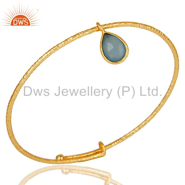 18k Gold Plated 925 Sterling Silver Handmade Charm Bangle With Chalcedony