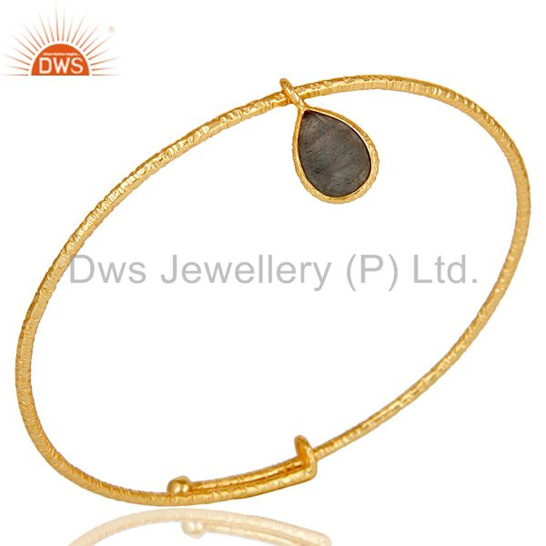 18k gold over 925 sterling silver handmade charm bangle labradorite