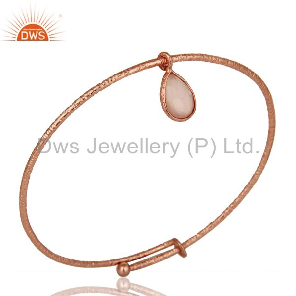 18k rose gold plated 925 silver handmade charm bangle chalcedony