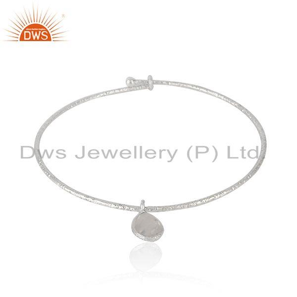 Wholesale Sterling Silver Rainbow Moonstone Adjustable Bangle Jewelry