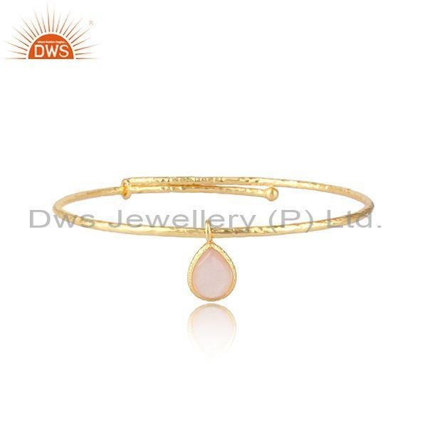 Rose Quartz Charm Set Gold On Silver Statement Bangle