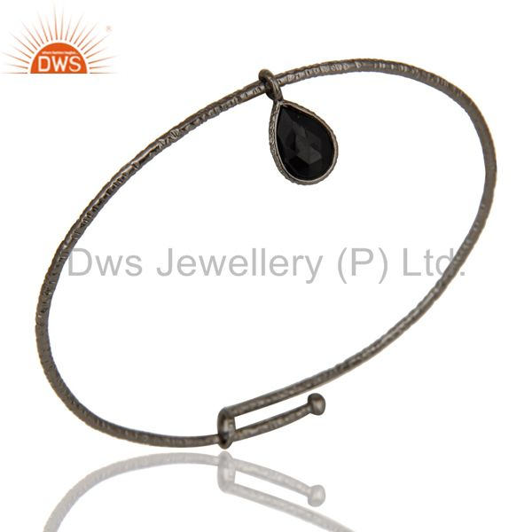 Black Oxidized 925 Sterling Silver Black Onyx Openble Fashion Bangle