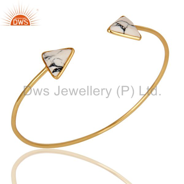 18K Yellow Gold Plated Handmade White Howlite Gemstone Sleek Cuff Jewellery