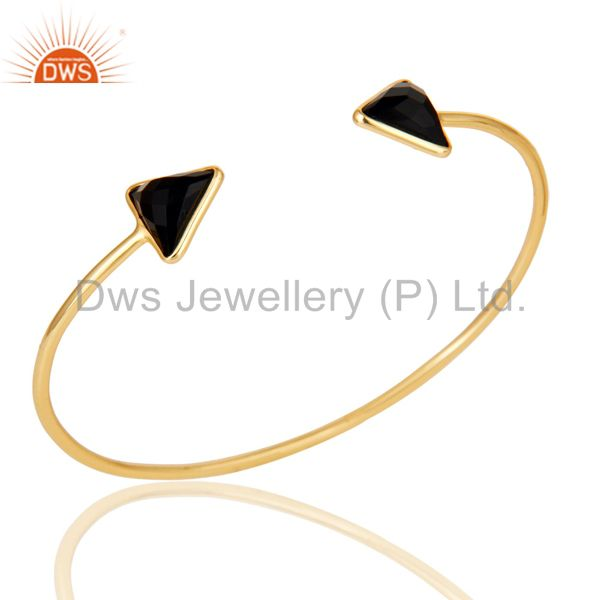 14k gold plated 925 sterling silver black onyx openable cuff jewellery