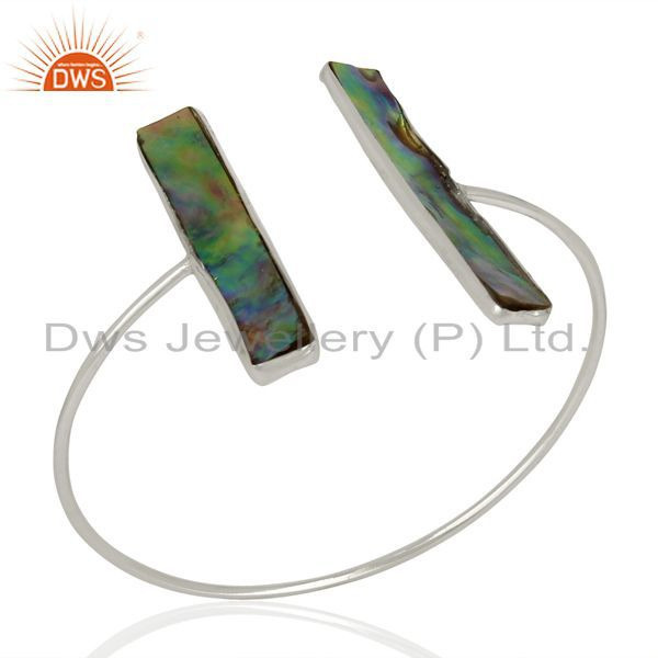 Abalone Shell Rectangle 92.5 Sterling Silver Openable Bangle Gemstone Jewellery