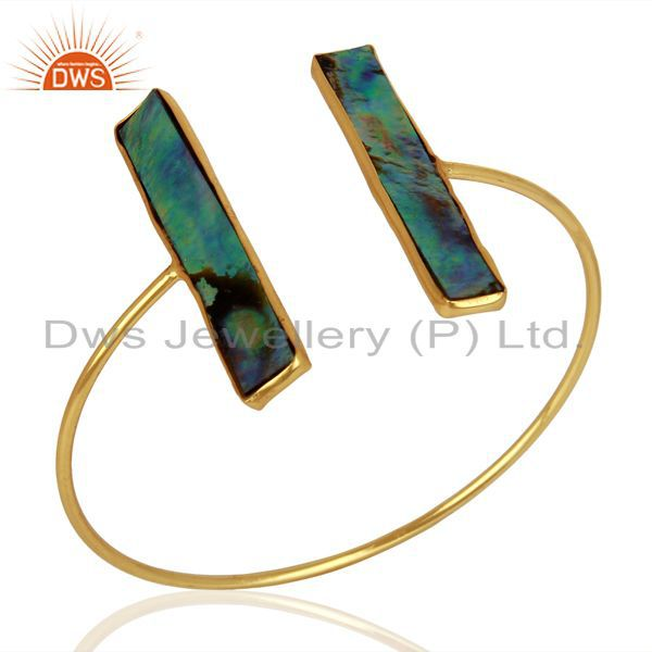 Abalone Shell Rectangle 925 Sterling Silver Gold Plated Openable Cuff Jewelry