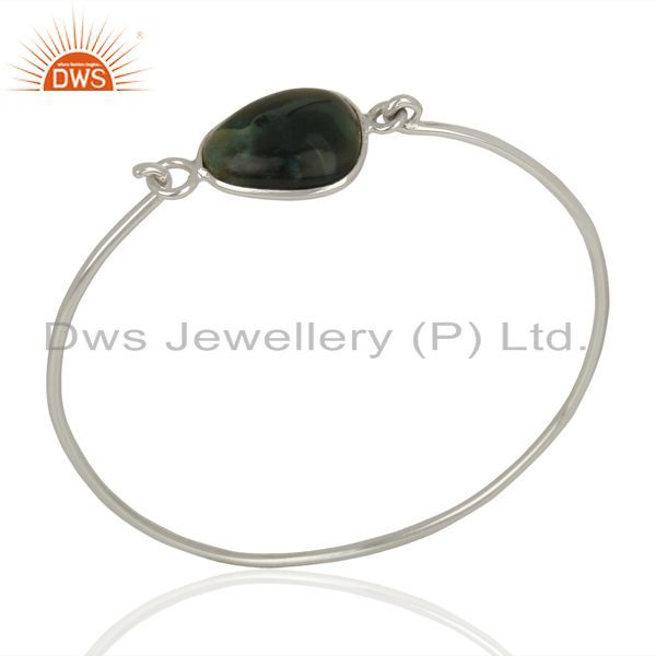 Ocean Jasper Gemstone 925 Sterling Silver Openable Bangle Jewelry