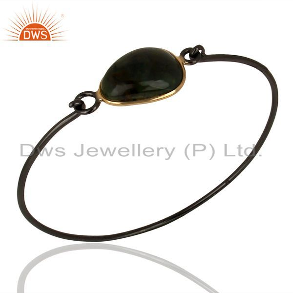 Black rhodium plated silver ocean jasper gemstone bangles jewelry