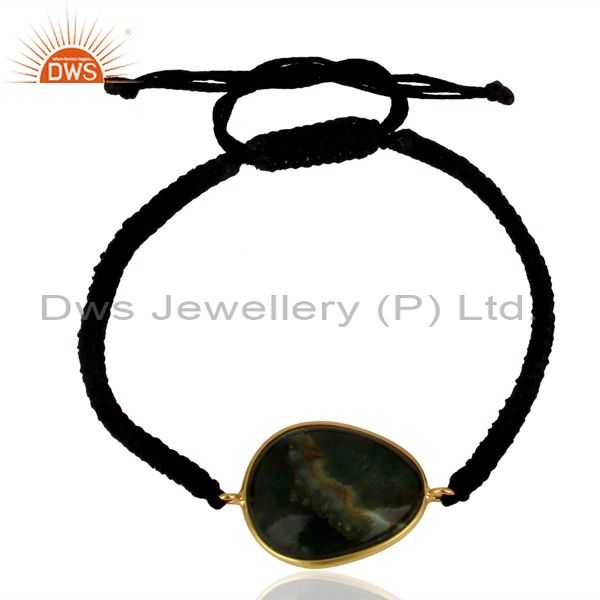 Gold Plated Silver Ocean Jasper Gemstone Macrame Bracelet Supplier