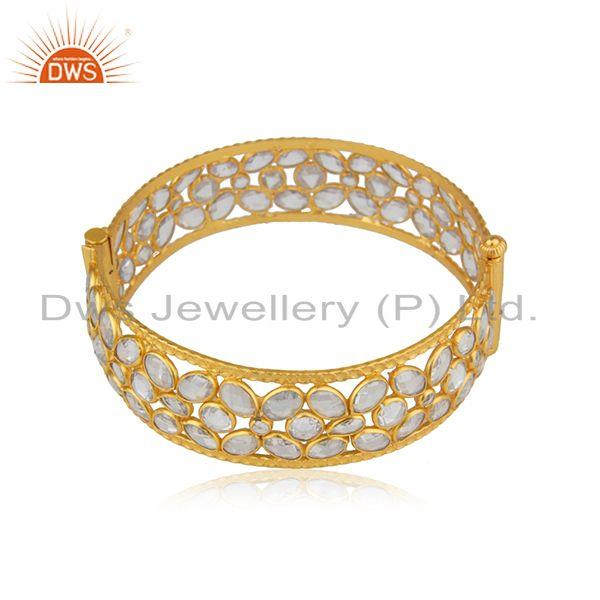 CZ Beaded Gemstone 18k Gold Plated Silver Openable Bangle Jewelry