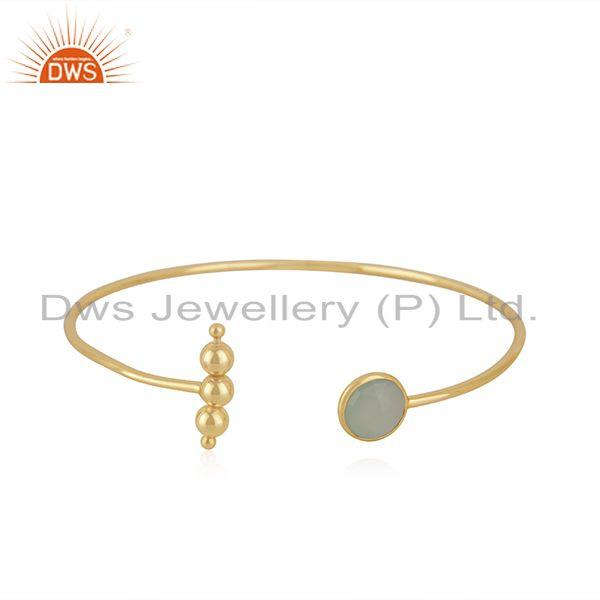 Yellow Gold Plated 925 Silver Chalcedony Aqua Gemstone Cuff Bangle Wholesale