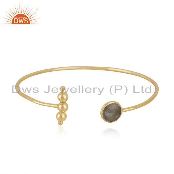 Natural Labradorite Gemstone Gold Plated 925 Silver Cuff Bracelet