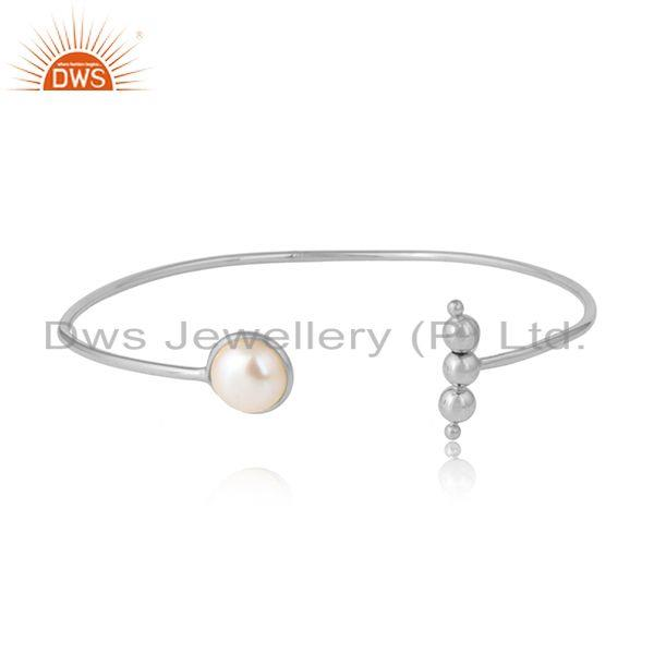 Natural pearl gemstone designer sterling silver womens bangles