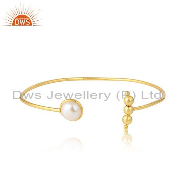 Handmade Yellow Gold Plated Silver Natural Pearl Cuff Bangles