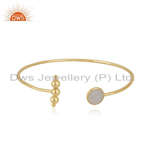 Gold Plated Sterling Silver Rainbow Moonstone Cuff Bracelet Manufacturer