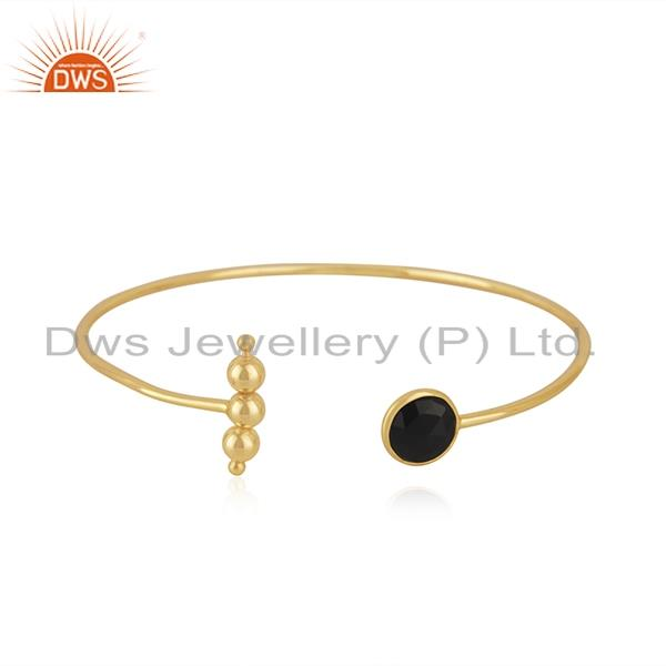 Black Onyx Gemstone Gold Plated 925 Silver Cuff Bracelet Manufacturer