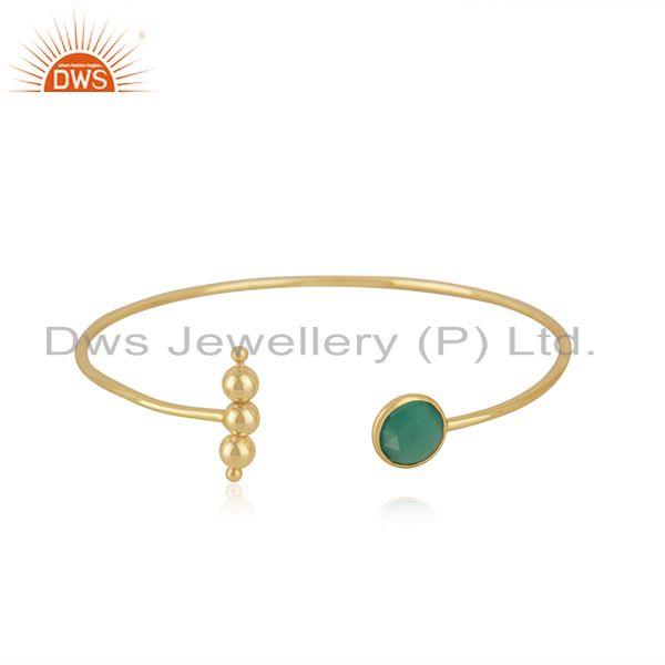 Yellow Gold Plated Sterling Silver Designer Green Onyx Gemstone Cuff Bracelet