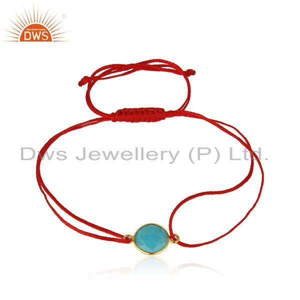 Aqua Chalcedony Gemstone Gold Plated Silver Macrame Bracelet Supplier
