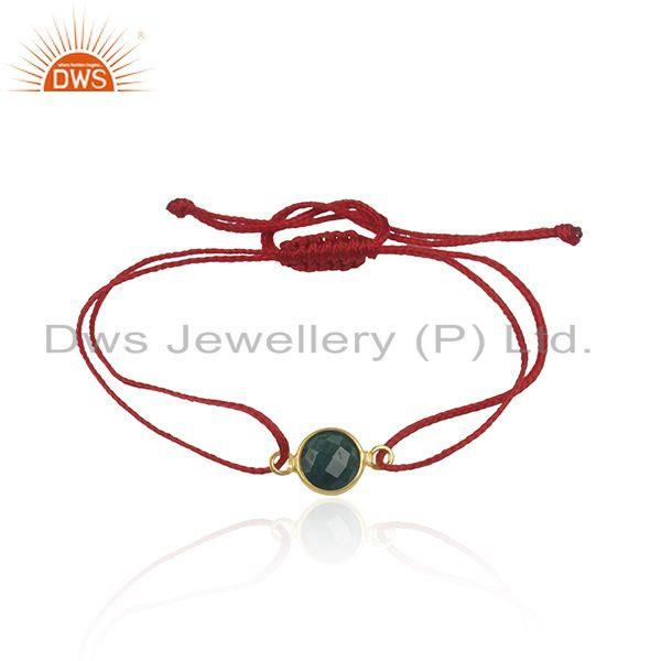 Corundum Emerald Gemstone Adjustable Macrame Bracelet Suppliers