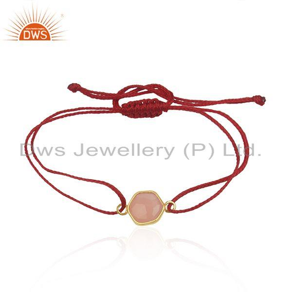 Rose Chalcedony Gemstone Silver Macrame Bracelet Manufacturer in India