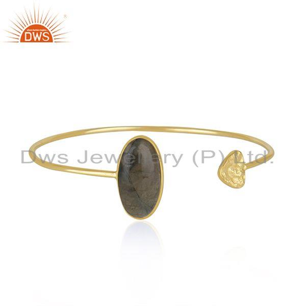 Labradorite Gemstone Yellow Gold Plated 925 Silver Cuff Bracelet