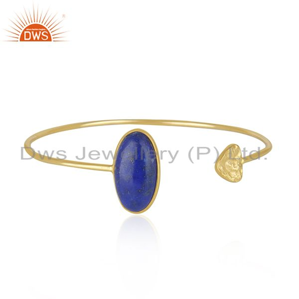 Heart Design Natural Lapis Gemstone Gold Plated Silver Cuff Bangle