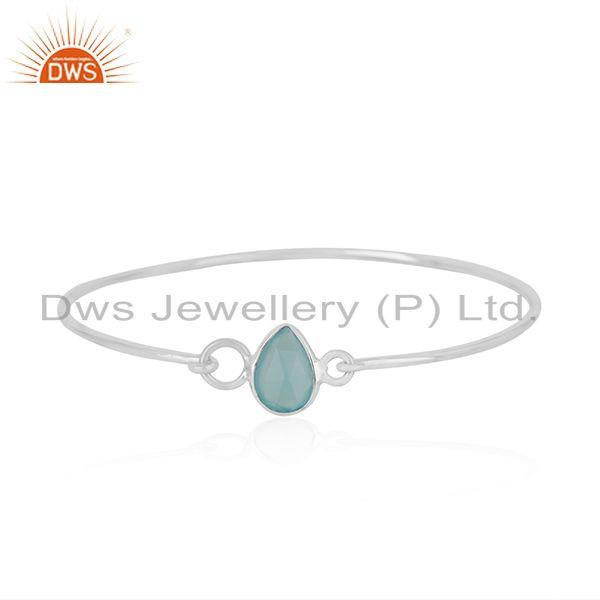 925 sterling fine silver aqua chalcedony gemstone sleek bangle