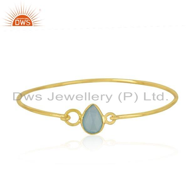 Aqua chalcedony 18k gold plated 925 silver bangle jewelry for girls