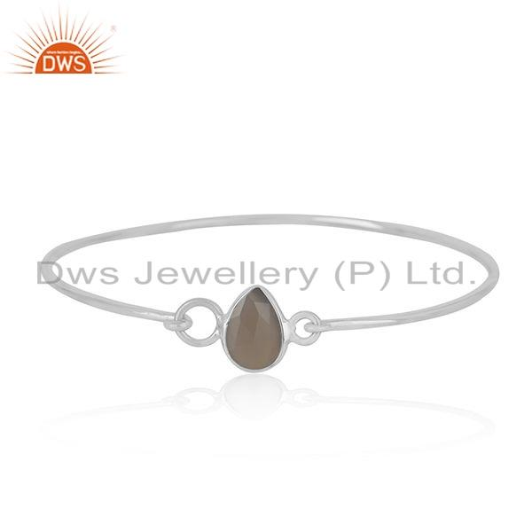 925 sterling silver designer gray chalcedony gemstone bangle jewelry