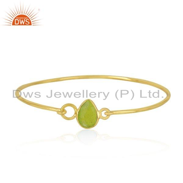 Natural Green Chalcedony Gemstone Gold Plated Silver Bangle Jewelry