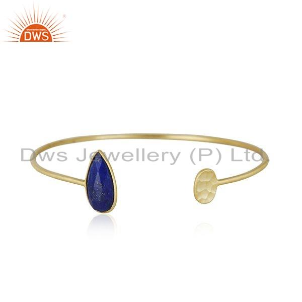 Designer Silver 925 Sleek Cuff with 18K Gold On and Natural Lapis