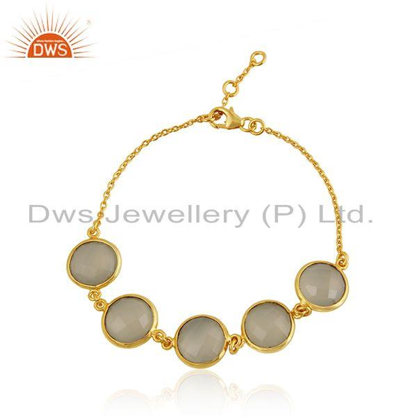 White Chalcedony Gemstone Gold Plated 92.5 Silver Chain Bracelet