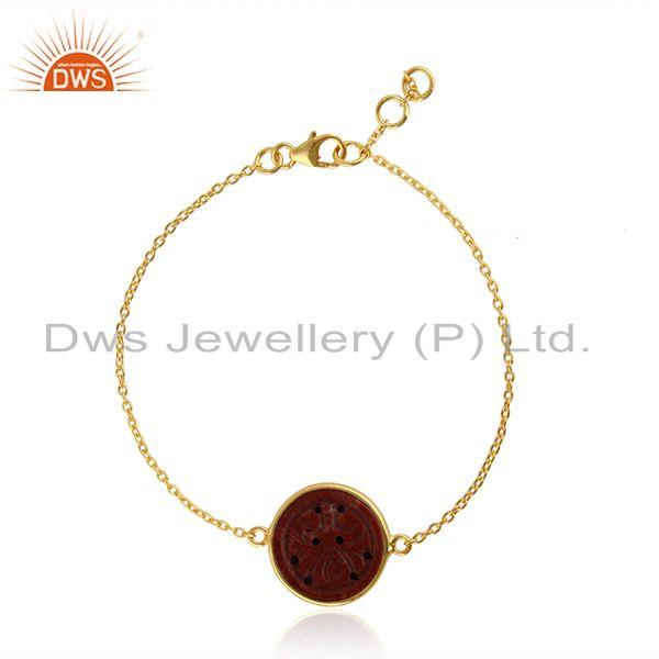 Red Jasper Gemstone Yellow Gold Plated Silver Chain Bracelet