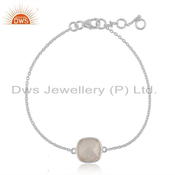 Rainbow moonstone gemstone fine sterling silver chain bracelet