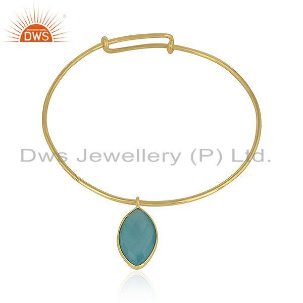 Aqua chalcedony gemstone designer 925 silver gold on sleek bangles
