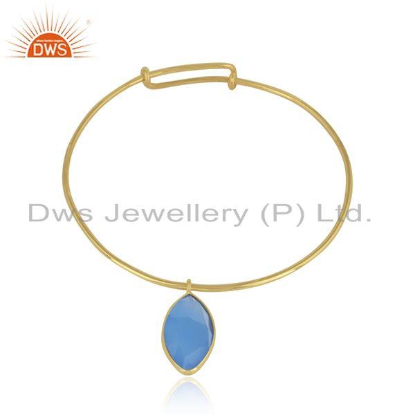 Designer gold plated 925 silver blue chalcedony gemstone bangle